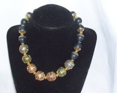 Lisner Multi- Colored Filigree Ball Beaded Necklace in Pastels and Dark Blue-Cosplay