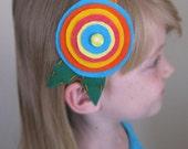 Summer posy flower wool felt girls elastic headband / wedding prop / photo prop / flower girl / spring / Easter headband / 2 yrs. - 10 yrs.