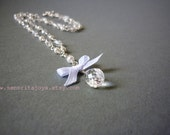 Bridal Wedding Teardrop Jewelry, Rhinestone Crystals Necklace, Bow and Drop White Wedding Necklace, Free Shipping to EU, US, CAN