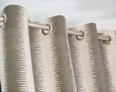 Gray Natural Beige Linen Vertical Stripe Ikat Jiri Curtains - Grommet - 84 96 108 or 120 Long by 25 or 50 Wide - Optional Blackout Lining