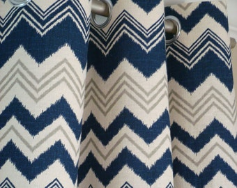 Navy Blue Gray Natura Beige Ikat Chevron Zig Zag Zazzle Curtains - Grommet - 84 96 108 or 120 Long by 25 or 50 Wide Optional Blackout Lining