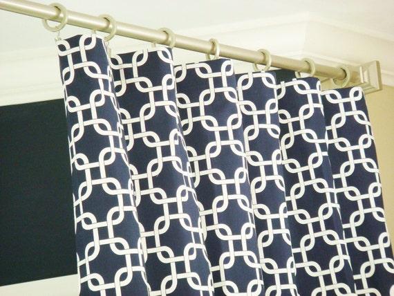 Navy Blue White Modern Geometric Chainlink Gotcha Curtains