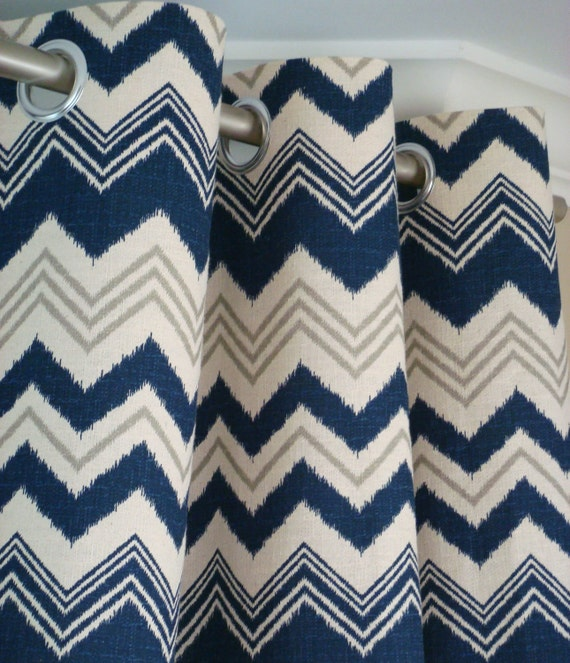 Navy Blue Gray Natura Beige Ikat Chevron Zig Zag Zazzle