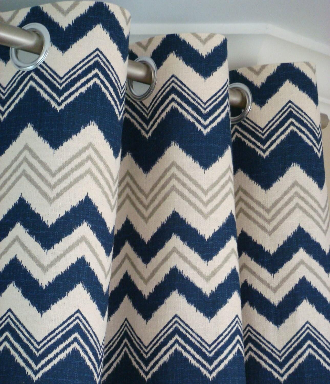 Navy blue gray natura beige ikat chevron zig zag by zeldabelle
