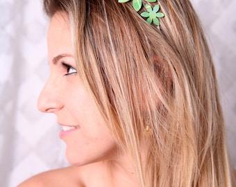 Green headband, Flower headband, Women hair accessory, Women headband, Green flower headband, Gift ideas for women, Women's accessories