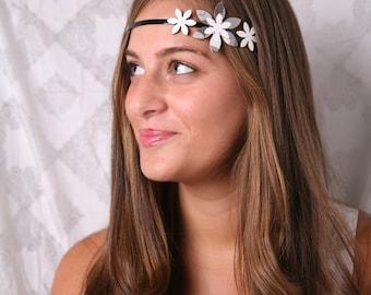 Metal headband, Cool headband, Black white headband, Gray headband, Boho headband, Adult headband, Hippie headband for women, Headband metal