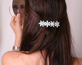 Mint hair clip, French barrette, White mint barrette, Mint hair accessories, Mint white hair clip, Women hair accessory, Girl hair accessory