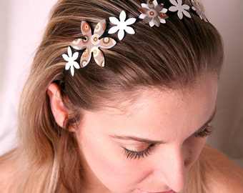 Earth tones headband, Retro print headband, Earth tones hair accessory, Women's headband, Natural colors, Beige gray headband, Flower crown