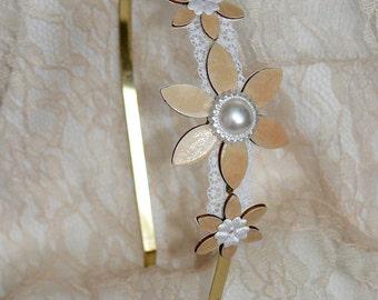 Romantic Headband, Vintage hair accessory, Bride Hair Accessory, Bridal Headband, Wedding Headband, Bridal Gold Headband, Bride Headband