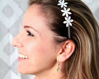 Cherry blossom headband, Sakura headband, Japanese print headband, Cherry blossom hair accessory, White flower headband, Pastel headband