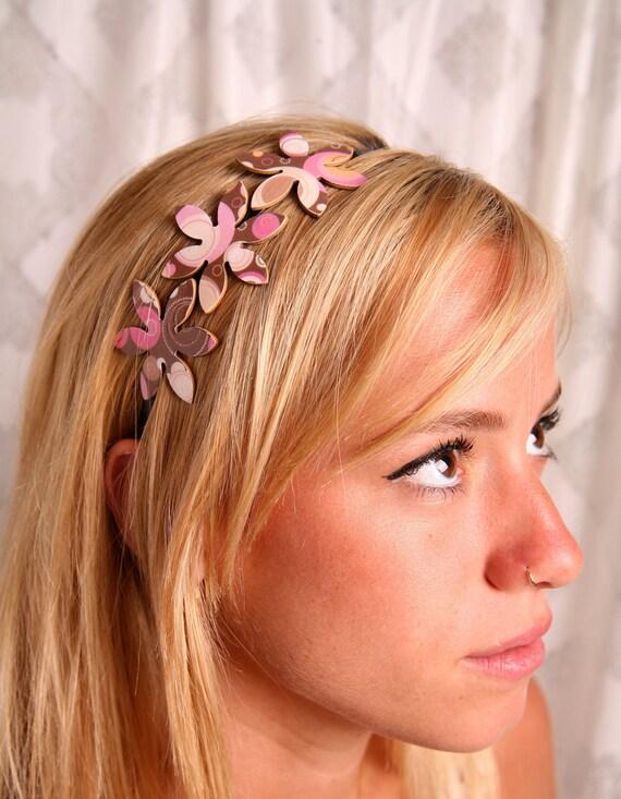 Flower headband, Gift ideas for her, Women hair accessory, Brown pink headband, Gifts for women, Headbands for women, Women's accessories