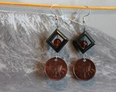 Tribal Drums Coin Earrings, Genuine Malaysia 1 Sen Coin, Copper Coin