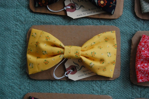 Sunshine Floral Bow-Tie Hair Clip - Large Vintage Fabric Bow - Yellow, Orange, Green Flowers - Made in France Barrette - For Child or Adult