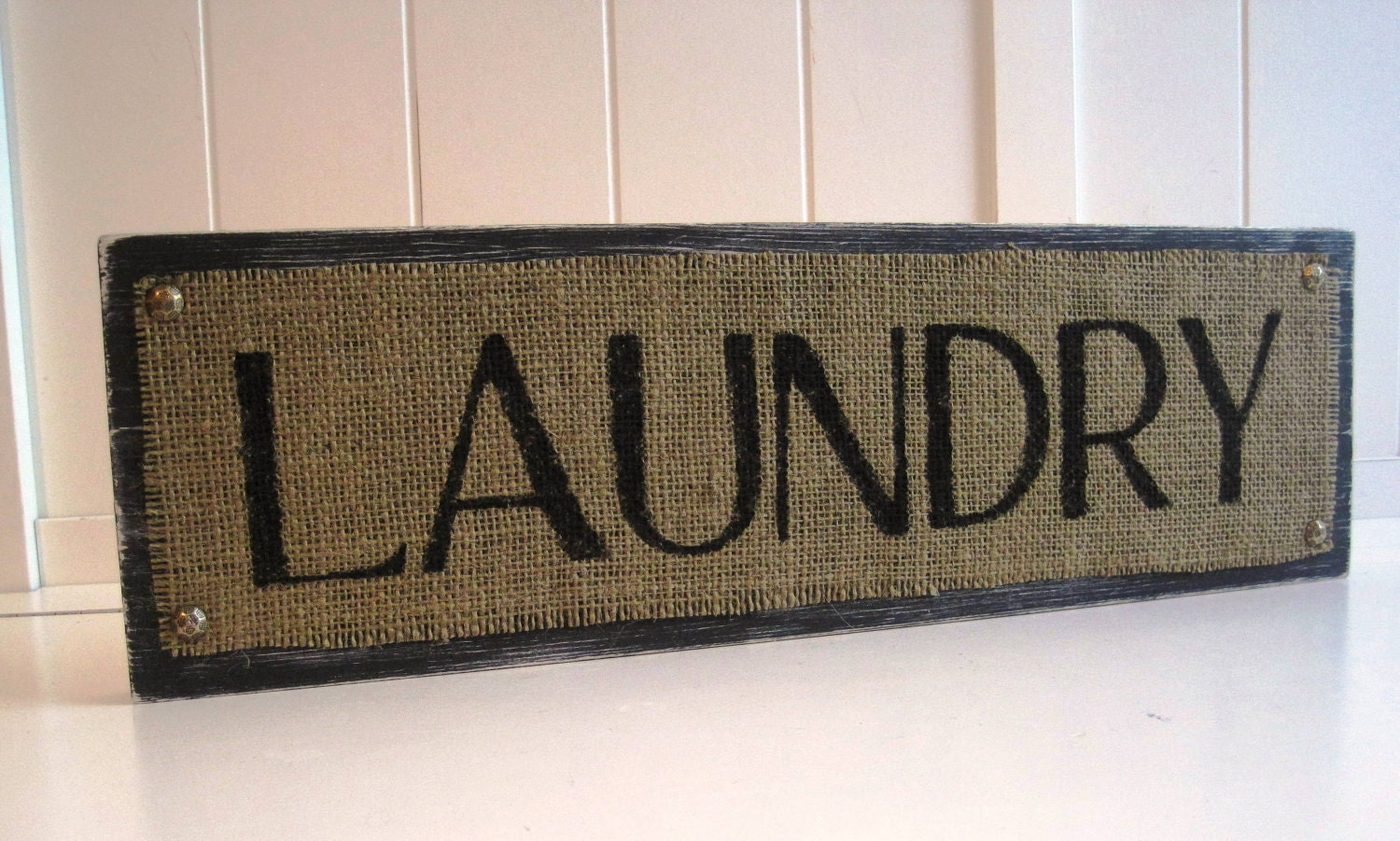 Laundry room wood sign plaque burlap black distressed shabby for Ready set decor reviews