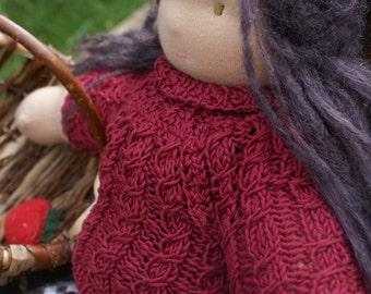 "Doll knitting  pattern - Knitting Pattern for a  16 - 18 inch Waldorf Doll ""Brambleberry Turtleneck Sweater)"
