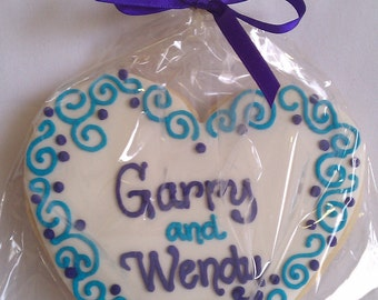 Purple & Aqua Blue Wedding Cookie Favor