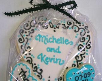 Wedding Cookie Favor, Aqua Blue, Black & White