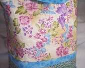 Quilted Tote Bag Asian Floral Design Fabric Lined Handmade Blue Pink Cream Yellow Purple Green