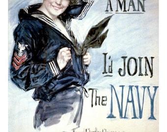 Navy Girl by Howard Chandler Christy World War I Recruiting Poster Remastered Print