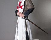 20% DISCOUNT! Knight Crusader Templar Medieval Tabard with Cross; sca cyclas; sca tabard; medieval tabard