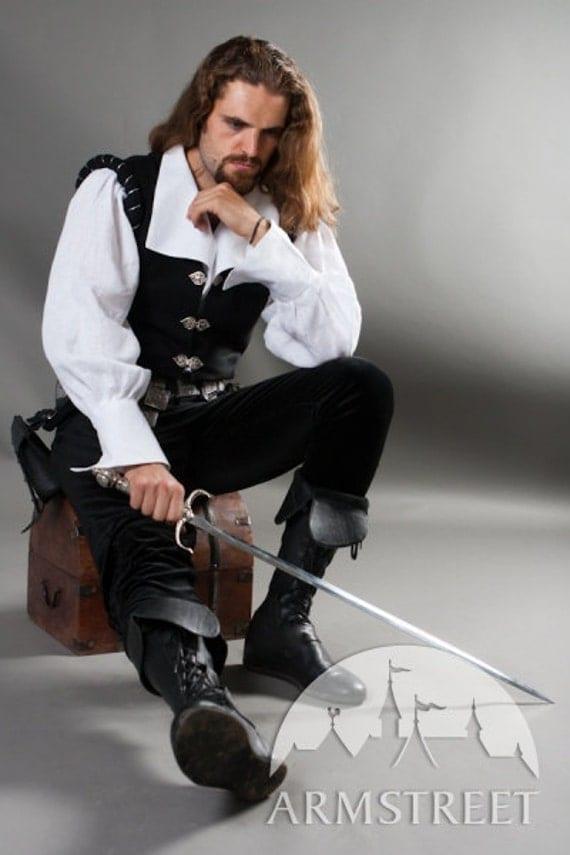 "DISCOUNTED PRICE! Renaissance Mens Shirt and Vest Set ""Chevalier"""