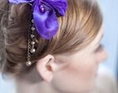 Purple Silk Flower Fascinator with Vintage Beads