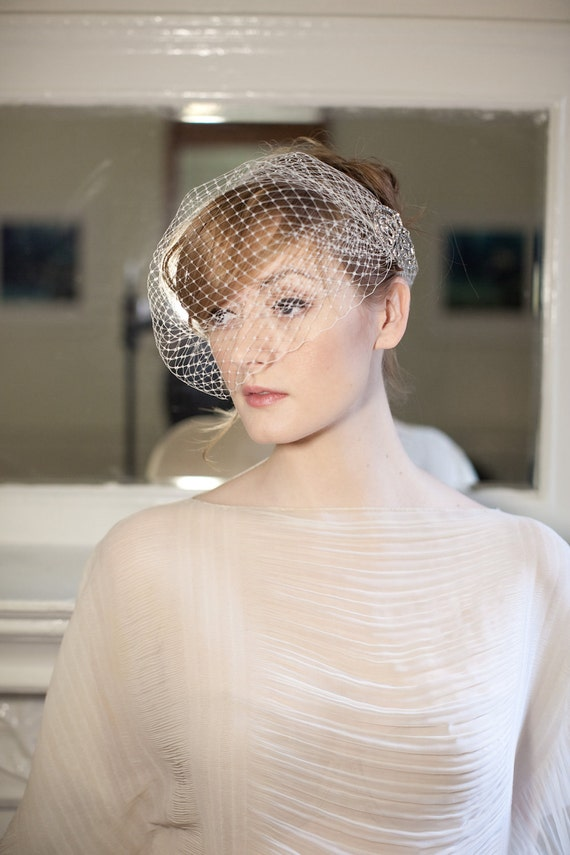 Birdcage Veil Headband with Faux Vintage Rhinestone Clasp