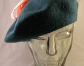 Turquoise and Coral Beret