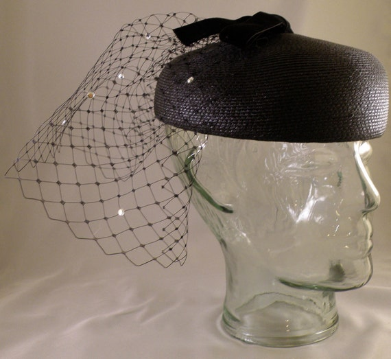 Black Straw Pillbox Hat with French Veiling