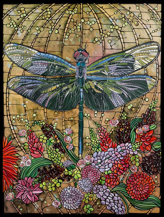 Dragonfly art nouveau print home decor 8x10 paper for Art nouveau decoration