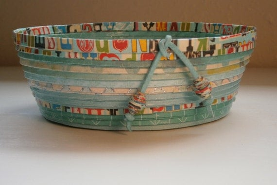 Coiled Paper Basket / Bowl, Bright Shades of Teal, Handmade, Medium Size