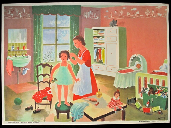 Vintage French poster 1950s school / educational classroom