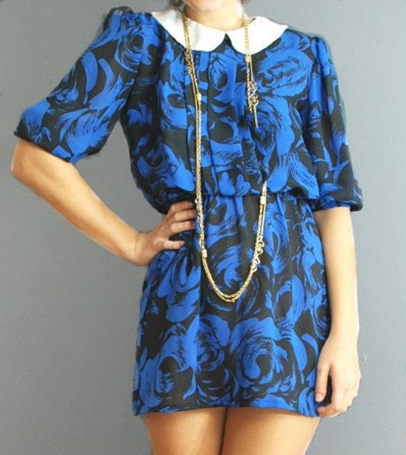 Vintage 80s Dress Blue Floral Mini Dress with Peter Pan Collar