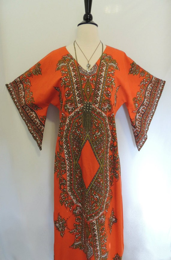 Vintage 70s Hippie Dress with Angel Sleeves. Mini Length Optional
