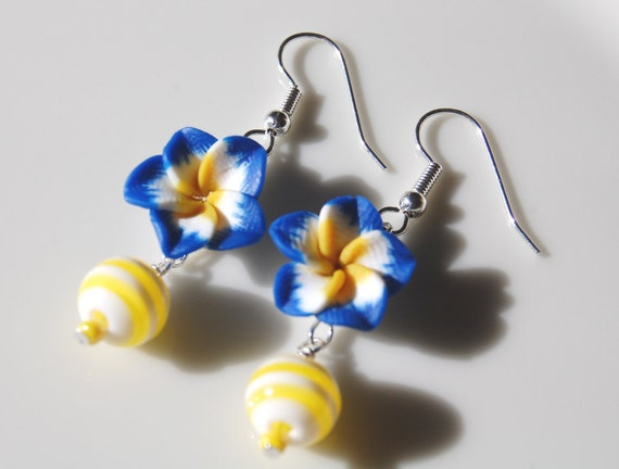 Blue Yellow Earrings , Flower Earrings , Blue Floral Earrings , Summer Earrings