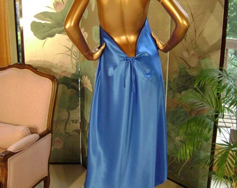 Blue Silk Lingerie Gown in Royal Blue Silk Charmeuse and Hand Embroidered Edges