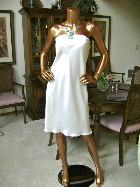 White Silk Dress in Natural White Silk Charmeuse and Hand Embroidered Edge Work
