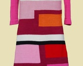 Knitted cotton dress Colorblock in Pink Made to order