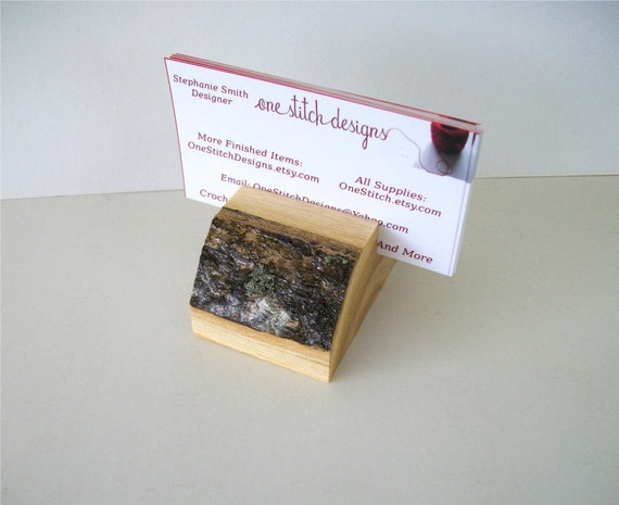 Rustic Wood Business Card Holder Flat Topped Natural Tree Branch Ready To Ship
