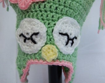 Pink & Green Sleeping Owl Earflap Hat with Butterfly - 6 to 12 Month Old