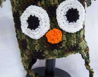 Camo Owl Earflap Hat - 6 to 12 month old