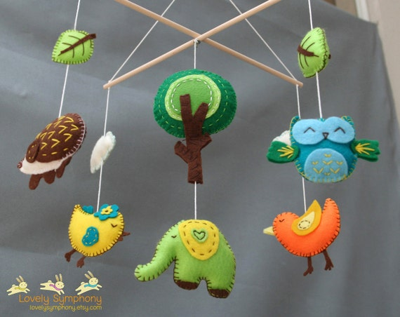 Forest baby mobile - Animals baby mobiles - Spring hanging mobiles - green forest -