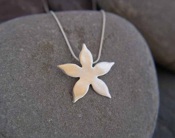 Fine Silver Star Flower Calyx Pendant Necklace