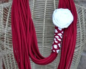 Crimson and White Upcycled T-shirt Scarf with Rosette (Made to Order/Can Customize)