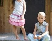 Girls Ruffle Skirt, Pink Summer Skirt, Toddler twirl skirt