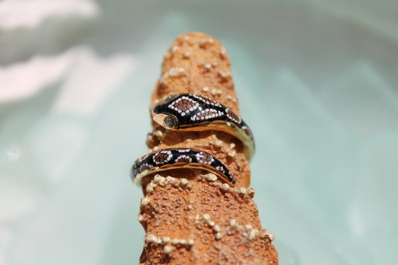 RESERVED for Bailey Hart - 25% 1st Layaway Payment - Estate Multi Color Enameled 14k Yellow Gold Coiled Snake Ring - Size 6