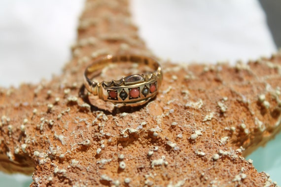 RESERVED for manuelamelin Until Oct 31st  - Treasury Item - Fine Edwardian 15K Gold Coral & Seed Pearl Ring - English Hallmarks - 1901