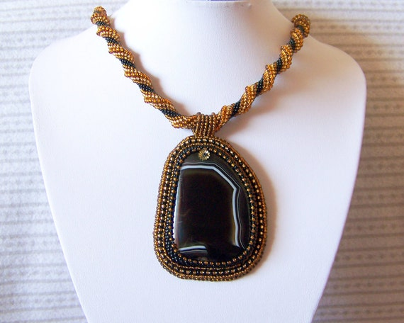 Reserved listing for Joan - Beadwork Bead Embroidery Pendant Necklace with Dark Agate - BLACK GOLD - Fall Fashion - black - brown - gold