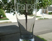 Etched Round Pilsner Glass - 1 Line of Text
