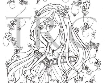 Floral Princess - printable PDF coloring page by Tia Christopher